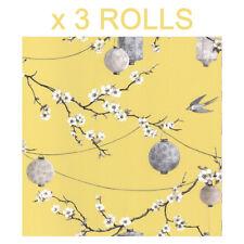Yellow Oriental Wallpaper Chinese Garden Flower Floral Lanterns Birds x 3 Rolls