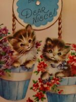 Vtg Rust Craft Birthday Greeting Card M.COOPER? Kittens In Flower Pails 40-50s