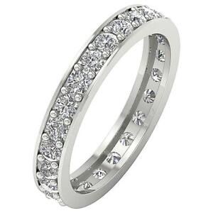 I1 G 0.65 Ct Natural Diamond 14K White Gold Eternity Engagement Stackable Ring