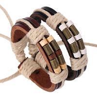Fashion Handmade Hemp Leather Braided Bangle Mens Surfer Cuff Wristband Bracelet