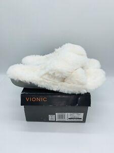 Vionic Womne's Indulge Relax Plush Adjustable Strap Slippers Ivory US 12M EUR 44