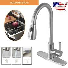 Kitchen Faucet Stainless Steel Commercial Single Handle Brushed Pull Out Sprayer