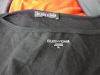 Eileen Fisher womens solid black silk organic cotton tank top lot XL EUC (2)