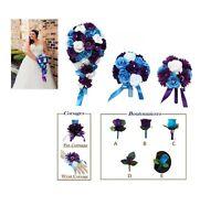 Malibu Turquoise, Purple, White Rose and Daisy Bouquet, Corsage, Boutonniere