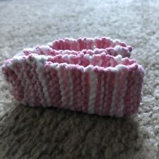 Handmade Crochet Pink And White Baby Slippers