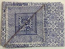 Indian Handmade Hand Block Blue Quilt Bedspread Kantha Cotton Twin Size