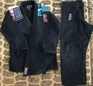 Vintage Atama Jiu-Jitsu Kimono Training Gi USA/Brazilian Flag A3 Black