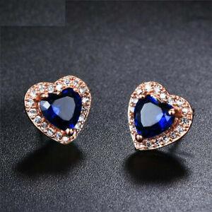 2Ctw Sapphire & Diamond Halo Push Back Heart Stud Earrings 14K Rose Gold Finish