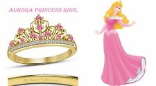 Round Cut Multi-Stone 14K Yellow Gold Plated Aurora Disney Princess Crown Ring