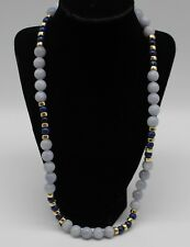 "Grey & Blue Stone Gold Beaded Toggle Closure Necklace - 26"" Long"