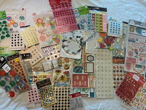 Huge lot of 40 Stickers and Embellishments scrapbooking rhinestones Lot 680