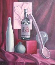 European Art, Still Life Oil Painting, Bottles Pitcher Wood Ladle