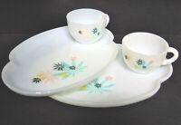 Lot 2 Set Milk Glass SNACK PLATES & CUPS Herbal Plant Flower Design Mid Century