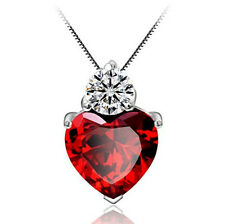 2CT Garnet S925 Sterling Silver Necklace 18 Chain 925 Heart Love Mom Day Gift 49
