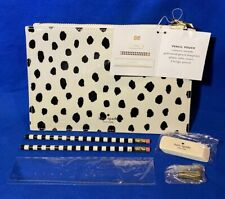 Kate Spade Pencil Pouch Set Black Gold Stripe Leopard Eraser Ruler Zip Up New!