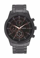 Unlisted By Kenneth Cole 10027761 Black Metal Watch Rose Gold Tone Accents