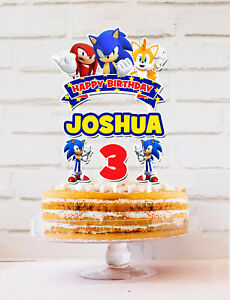 Sonic The Hedgehog Personalised Cake Topper KIDS PARTY DECORATION LOLLY TAG LOOT