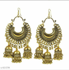3 Jhumka Jhumki Earrings Pair Kashmiri Mugal Bollywood Golden Oxidized Indian