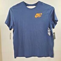 Nike Blue Just Do It Grafitti Back Tee Tshirt Mens 100% Cotton Shirt Size XXL