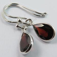 Cute Drop Earrings Genuine Red GARNET Pear Gemstones 925 Solid Sterling Silver