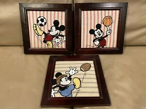 Disney Framed pictures Set Mickey Mouse Baby Room Decor SPORTS FABRIC BABIESRUS