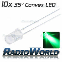 10x 5mm Ultra Bright Clear LED Diode 3.4v Green Light Emitting Diode 35°
