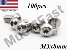 M3 x 8mm Button Head 18-8 Stainless Steel ISO:7380 100pcs
