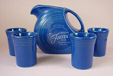 FIESTA -   SAPPHIRE DISK PITCHER & 4 JUICE TUMBLERS - NEVER USED - RETIRED COLOR