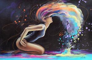 Gala ORIGINAL modern art nude girl figure dancer night dance oil painting ~NEW