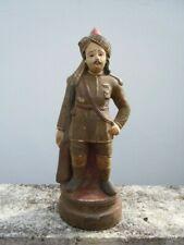 Statue terre cuite polychrome gardien de temple Indou d'époque 19eme