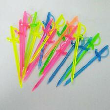 100PCS Mix Color Plastic Pirate Sword Picks Sticks Cupcake Cocktail Party GOM
