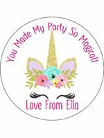 30-90 UNCUT EDIBLE WAFER CUPCAKE TOPPERS PERSONALISED UNICORN HORN GOLDEN U2