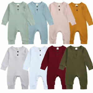 UK Newborn Infant Baby Boy Girl Knitted Romper Bodysuit Jumpsuit Clothes Outfits