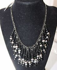 M. Haskell Silver Tone Black Beaded Fringe Frontal Necklace NWT $36
