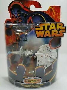 Star Wars Micro Vehicles - Millennium Falcon,B-Wing with Han Solo and Chewbacca