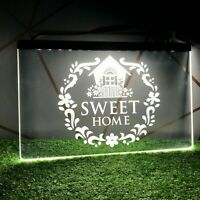 Home Sweet Home 3D Printed UK Neon LED Bulb Sign Light Plaque Grey White Decor