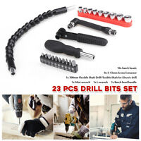 23x Electric Drill Bits Set Flexible Extension Shaft Batch Head Screw
