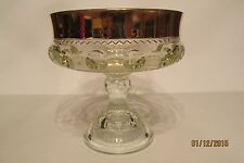 """Vintage Indiana Glass King's Crown 7"""" Clear Glass Gold Rimmed Compote ~ Perfect!"""