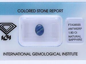 natürlicher 1,83 Karat Saphir Oval blue IGI Expertise