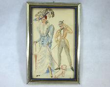 Aquarelle dans le cadre Paris France À 1900 Tableau Femme Mode
