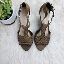 Franco Sarto Women's Sandals High Heel Brown Peep Toe Laser Cut - Size 8.5