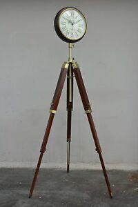 Brown Wood Grandfather Style Floor Clock Vintage Industrial 3 Folding Tripod