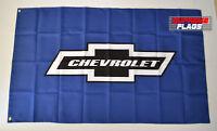 Chevrolet Flag Banner 3x5 ft Chevy American Wall Car Garage Blue