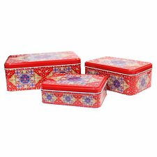 3 in 1 Ramadan Mubarak Iftar Hamper Gift Tins For Eid - Red Ornate Crescent Moon