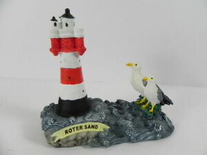 Lighthouse Red Sand German Bay, 2 Seagulls, 13 CM Poly Model, New