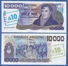 Argentina 10 Australes on 10000 P 322c ND (1985) UNC Low Shipping! Combine FREE!