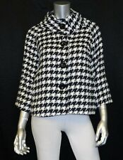 FOR CYNTHIA PETITE NWT Black/White Houndstooth 3/4 Sleeve Swing Jacket sz PM $88