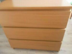 Ikea Malm Kommode Eiche furniert 3 Schubladen B 80 x H 78 x T 48 cm