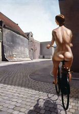 LARGE A3 SiZE QUALITY CANVAS ART PRINT * Nude Bicycle Ride