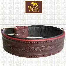WOZA Premium Hundehalsband Prägung Vollleder Lederhalsband Rindnappaleder E81936